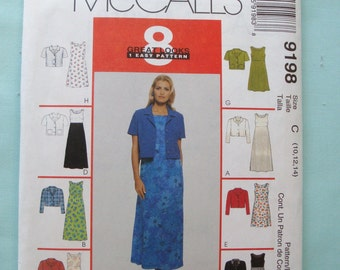 McCalls 9198 - Misses Unlined Jacket and Dress Pattern - Pattern - Sewing Pattern - Jacket Pattern