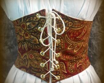 Renaissance Waist Cincher - Pirate Belt - Corset -  Paisley - Steampunk, SCA, LARP, Costume