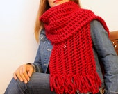 FREE SHIPPING Thick Knit Scarf Long Fringe Scarf Chunky Knit Scarlet Red Lace Knit