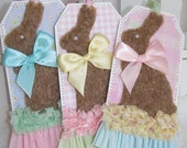 Furry Bunny Pastel Easter Basket Treat Bag Gift Tags