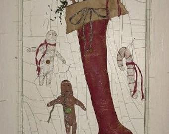 PDF E-PATTERN...Primitive Folk Art 'Ginger Goodies' Stocking with Ornies.