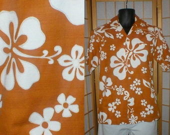 Vtg 70s gold white floral print Hawaiian bark cloth shirt mens size medium