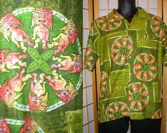 60s / 70s cotton Hawaiian tiki print shirt mens size medium
