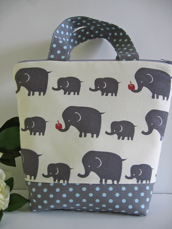 Grey Elephants / Insulated Lunch Bag / Elephants / lunch Tote / gray / ready to ship
