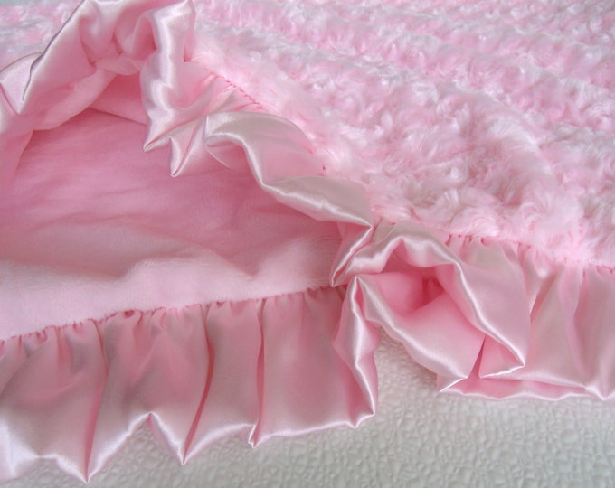 Smooth Pink Minky and Rose Swirl Baby Blanket