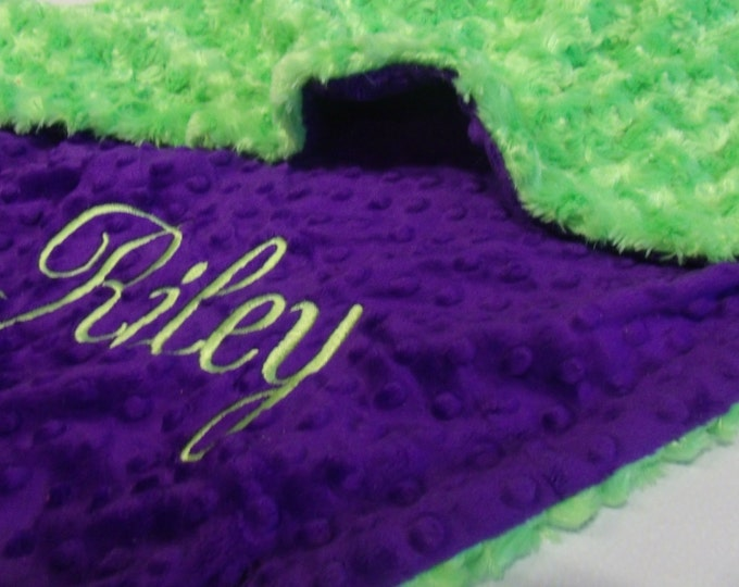 Purple and Green Rose Swirl Minky Baby Blanket Can Be Personalized