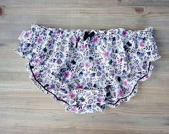 Cotton satin panties, frilly panties, floral underwear, cotton panties with flowers, handmade lingerie, bridal lingerie