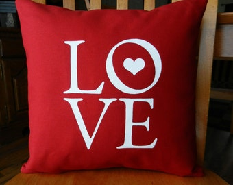 """Love Pillow Cover, Valentine Love Pillow, Valentine's Day Gift, Love Text, fits 14"""" insert (insert not included) other sizes available"""