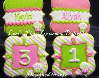 Birthday Plaque Cookies - Personalized Plaque Cookies - 12 Cookies