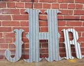 "Kansas Barn Tin letters LARGE 24"" Marquee Monogram Wedding Home Decor"