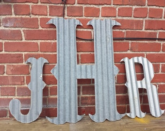 "Kansas Barn Tin letters LARGE 24"" Marquee Monogram Wedding Home Decor"
