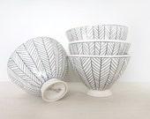 Reserved for Christina & Rodrigo: Herringbone Patterned Bowl - Made to Order