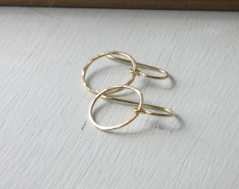 Gold Filled Circle Hammered Earrings