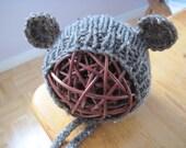 Teddy bear ears bonnet - barley - newborn photo prop - hand knit - baby bear - boy girl - other colour options