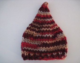 chunky pixie hat - multi - newborn photo prop - hand knit  - READY TO SHIP