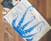 "GIFT BAG / 8x11"" - OCTOPUS Tentacles - Hand Printed Drawstring Reusable Cotton Bag"