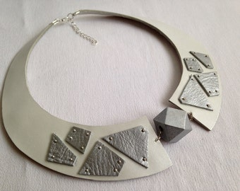 "White and silver leather bib necklace Leather jewelry Statement necklace  ""Geometry of Metamorphose"" collection"