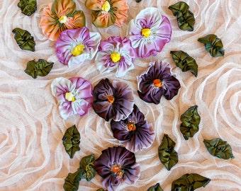 Handmade Vintage Silk Pansy Flowers