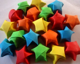 20 Crayon Rainbow Origami Lucky Stars - Wishing Stars - Favors, Confetti, Table Decor, Gift Enclosure - Small Origami Paper Star Set