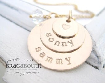 Hand Stamped Mommy Necklace - Gold Personalized Jewelry - Brag About It - Stack of Golden Love
