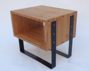 Mid Century Modern Open Bedside Side Table -Splash of Black in caramelized bamboo