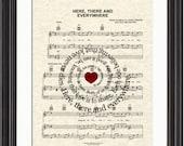 The Beatles Here There and Everywhere Song Lyric Sheet Music Art, Beatles Music Art, Custom Wedding, Custom Anniversary, Names and Date Art
