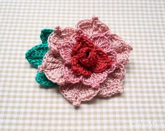 Crochet Kawaii Corsage Brooch - Rose Pink/Red -