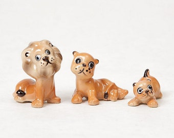 Vintage Miniature Lion Family, instant collection, porcelain figurines, mom dad and baby