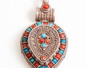 Vintage Tibetan Prayer Box Pendant Sterling Silver, Turquoise, Coral