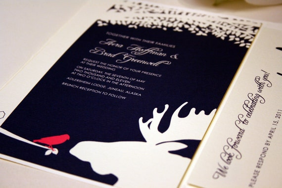 Bird and Moose Wedding Invitation, Navy Blue Pocketfold, Alaskan Wedding, Outdoor, Pink, Destination Country, Farm Invite, Woodsy, Hunter