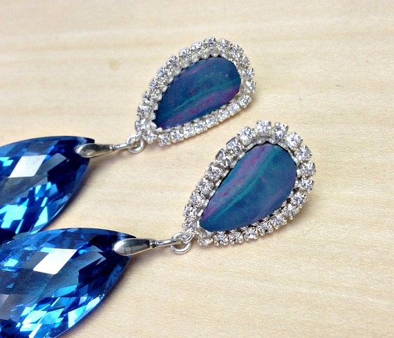 RESERVED - Opal Earrings, Australian Boulder Opal Earrings, London Blue Topaz Quartz - Payment 1