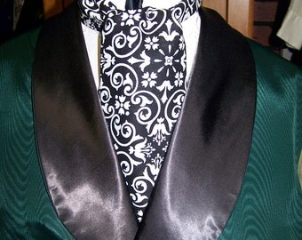 "Ascot or Cravat White and Black Floral Paisley Damask cotton print fabric 4"" x 42"" or  52"" Mens Historial Wedding, cravat tie"