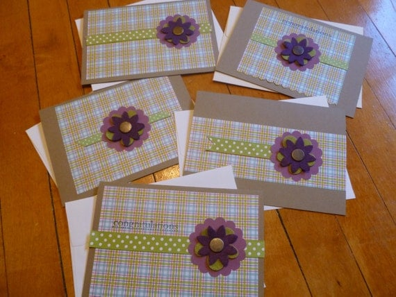 Set of 5 Felty Flower Cards