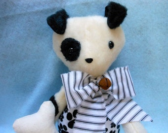 Stuffed Dog with his Flannel Dog Bone, Stuffed Animal, Canine, Home Decor, Handmade, Plush Felt, Dog Lover, Black and White Dog
