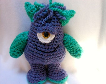 Crochet Doll, Monster with One Eye, Stuffed Monster Doll, Ugly Cute, Fantasy, Purple, Teal, Scary