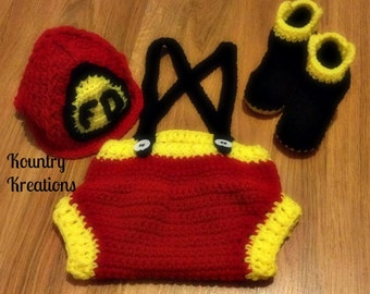 Crochet fireman outfit /baby fireman set/fireman hat /Crochet Baby Fireman SET Includes Hat/Pants with Suspenders/and Boots (Ready to Ship)