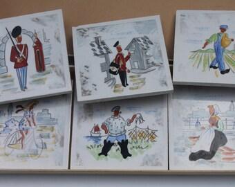 Vintage Ceramic Tile Coasters DENMARK