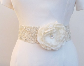 Beaded Bridal Wedding Sash Belt 7 cm with pearls crystal beads ivory with Organza Ready to Ship