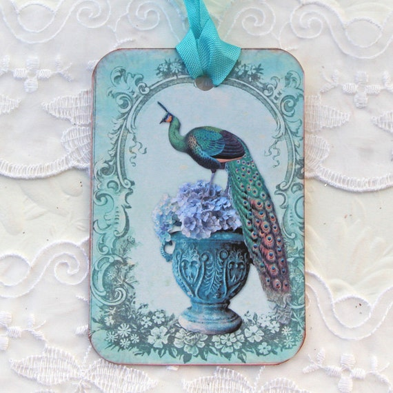 Bird Gift Tags, Peacock tags,Birthday, Bridal Shower, High Tea Party Favor,Turquoise, Bird Lover,Hydrangea,Wedding Wish Tag, Vintage Urn tag