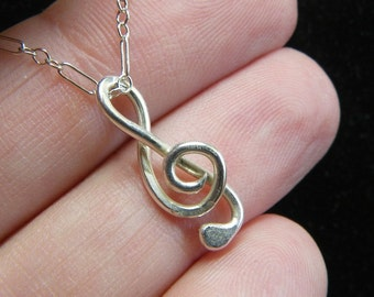 Music Necklace - Sterling Silver Treble Clef - Handmade - 16-21 Inch Chain