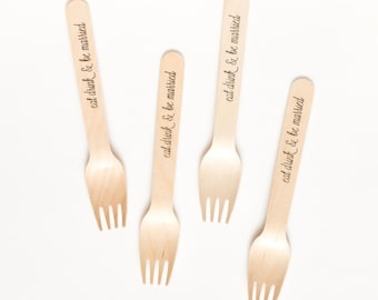 Eat Drink & Be Married - Wooden Utensils -  Wedding Engagement Party