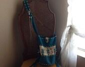 Turquoise suede southwestern fringe festival bag