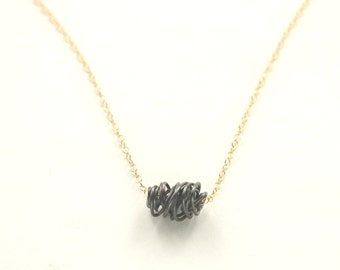 SIMPLI . Mixed Metal Tiny Necklace oxidized silver on gold