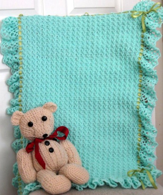 Crochet Blanket Aqua Green Ribbon Ruffles By Wuglyees On Etsy