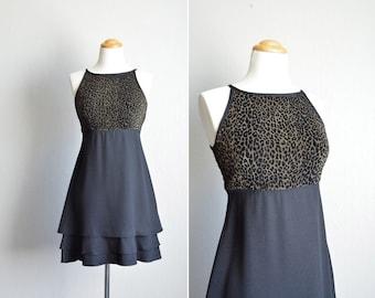 vintage '90s OLIVE green LEOPARD print TIERED mini party dress. size xxs xs.