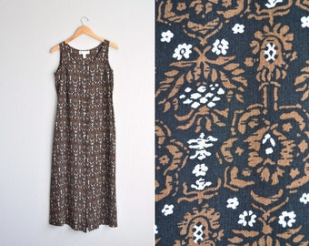 SALE // vintage '90s black & brown FLORAL print sleeveless RAYON maxi button-front dress. size s m.