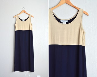 SALE / vintage '90s MINIMALIST tan & navy blue two-toned COLORBLOCK sleeveless maxi tank dress. size m l.