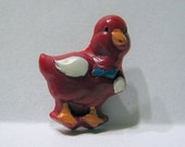 Vintage Realistic French Plastic Duck Button