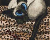 Modern cat cross stitch kit by AmyLyn Bihrle Siamese Cat counted Cross Stitch Kits