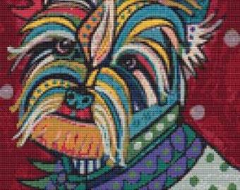 Modern Cross Stitch Kit 'Yorkshire Terrier' By Heather Galler - Dog crossstitch